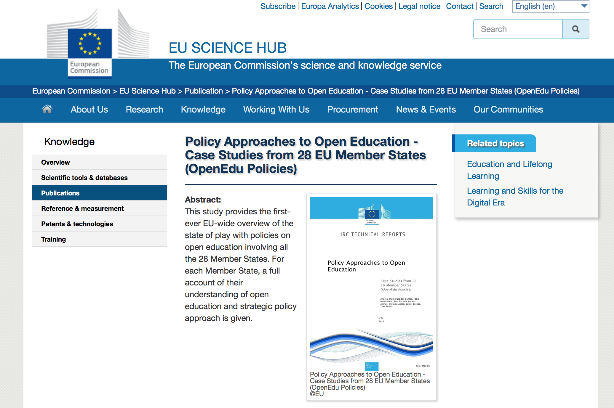 Open Education policies in Europe: state of the art and possible ways forward