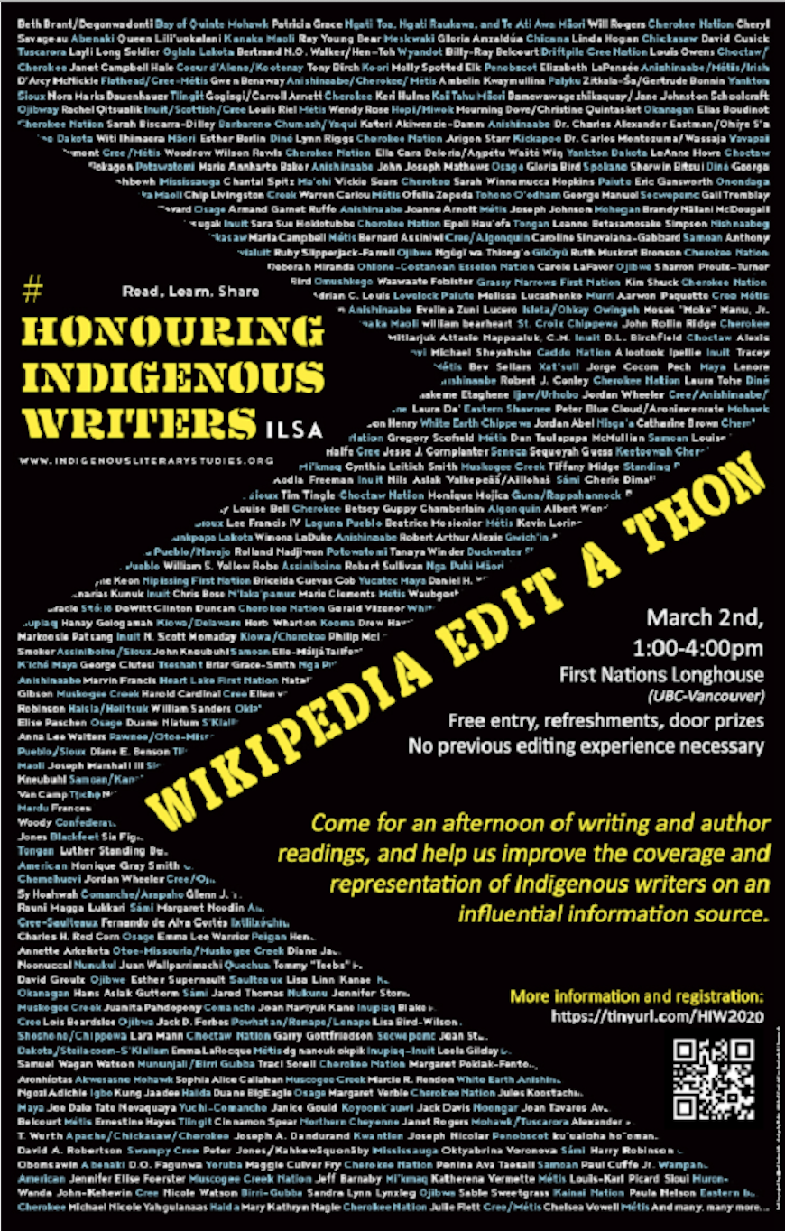 Honouring Indigenous Writers Wikipedia Edit-a-thon