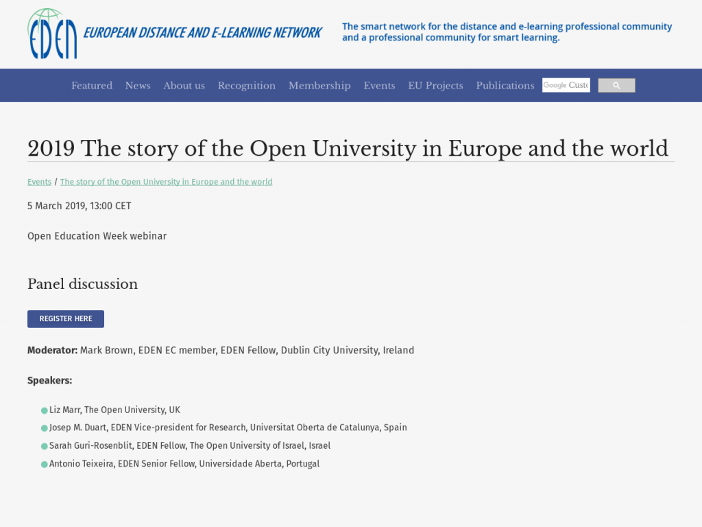 The story of the Open University in Europe and the world