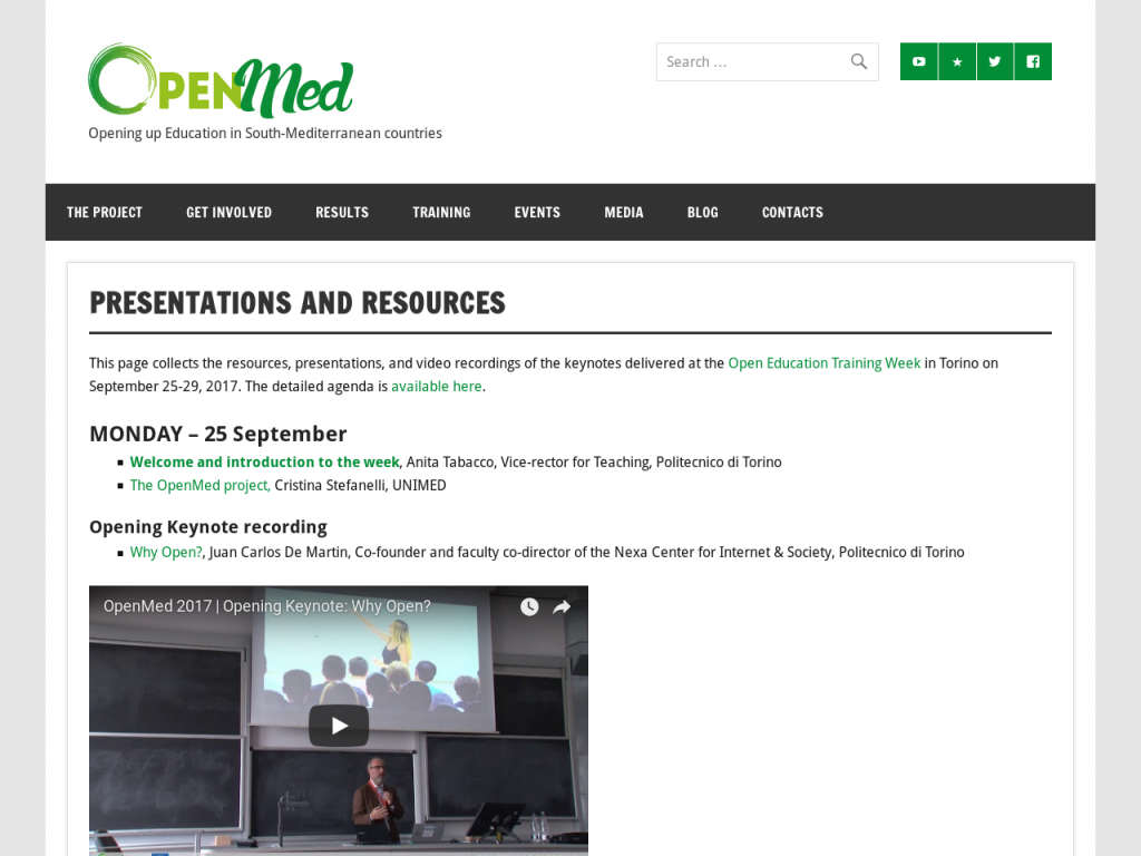 Resources from the OpenMed Open Education Training Week in Torino